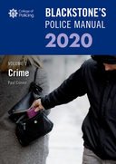 Blackstone's Police Manuals Volume 1: Crime 2020
